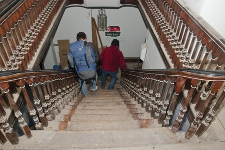 ows: Occupy Exeter activists walking on the stairs of Occupy Exeter site 2.