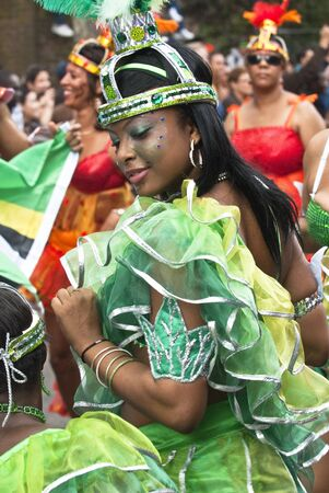 notting: Dancer from the DUKA Arts float at the Notting Hill Carnival on August 30, 2010 in Notting Hill, London.