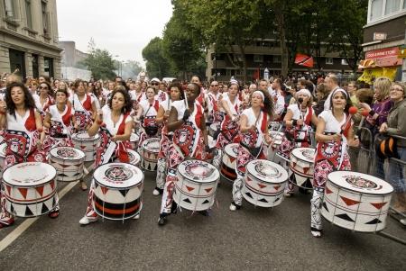notting hill: Batala, Banda de Percussao, performing at Notting Hill Carnival