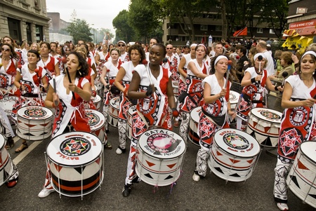 notting: Batala, Banda de Percussao, performing at Notting Hill Carnival