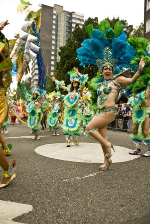 notting: Dancers of the the Paraiso School of Samba float at the Notting Hill Carnival,