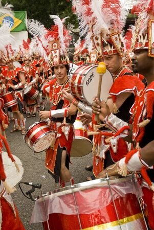 Drummers from the the Paraiso School of Samba float at the Notting Hill Carnival