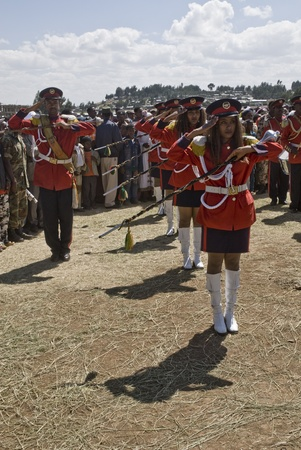 Female baton bearer from the Ethiopian Ceremonial Marching band standing on ceremony at the 20th World Aids Day Event in Fitche,  Ethiopia.