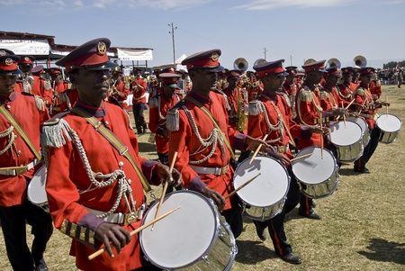 Drummers from the Ceremonial Marching band marching past at the 20th World Aids Day Event in Fitche, Ethiopia.