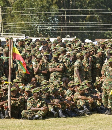 Ethiopian Army Soldiers relax Before the Start of the 20th World Aids Day Event in Fitche, Ethiopia Stock Photo - 12559391