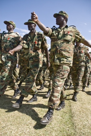 Ethiopian Army Soldiers Marching Passed the Dignitaries at the 20th World Aids Day Event in Fitche, Ethiopia
