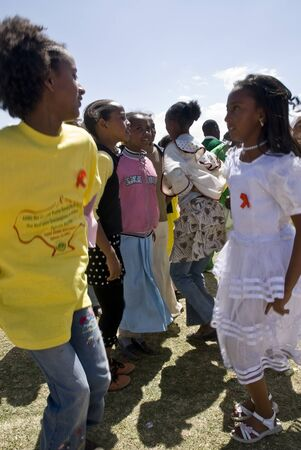 Ethiopian children dancing at the 20th World Aids day Event in Fitche, Ethiopian
