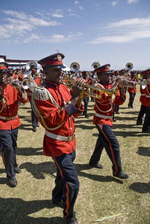 Trumpeters from the Ceremonial Marching band marching past at the 20th World Aids Day Event in Fitche, Ethiopia