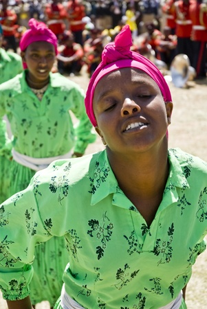 Young Ethiopian Women Performing a Traditional African Dance at the 20th World Aids day Event in Fitche, Ethiopia