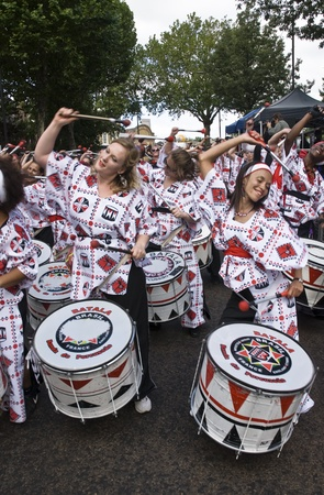 Drummers from Batala Banda de Percussao performing at the Notting Hill Carnival street parade on August 30, 2010 in Notting Hill, London Stock Photo - 12591834