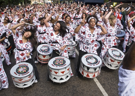 Drummers from Batala Banda de Percussao performing at the Notting Hill Carnival street parade on August 30, 2010 in Notting Hill, London