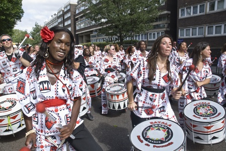 notting: Drummers from Batala Banda de Percussao performing at the Notting Hill Carnival street parade on August 30, 2010 in Notting Hill, London Editorial