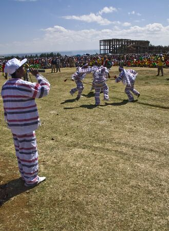 Young Ethiopian men and women Performing a Traditional African Dance at the 20th World Aids day Event in Fitche, Ethiopia