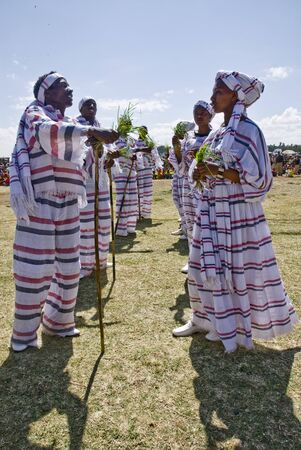 Young Ethiopian men and women Performing a Traditional African Dance at the 20th World Aids day Event in Fitche, Ethiopia Stock Photo - 12849584