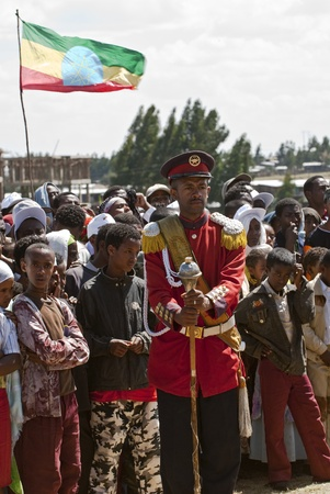 Male baton bearers from the Ethiopian Ceremonial Marching band standing on ceremony at the World Aids Day Event in Fitche
