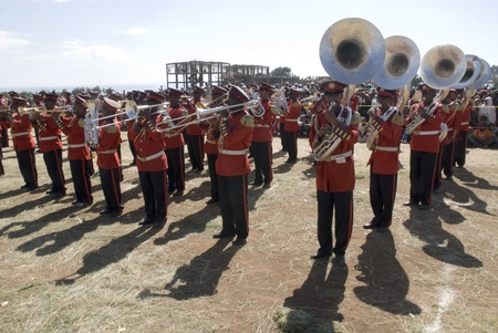 ceremonial: Ceremonial Marching band Perfoming at the 20th World Aids Day Event in Fitche, Ethiopia