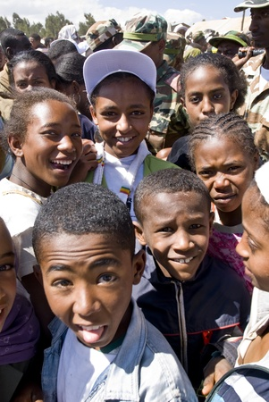 Children in the crowd attending the 20th World Aids Day Event in Fitche, Ethiopia