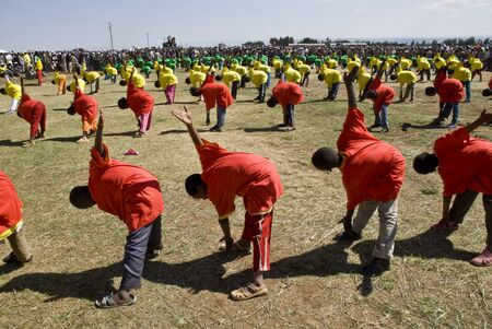 Ethiopian youth Perfoming Exercise at the 20th World Aids day Event in Fitche, Ethiopia