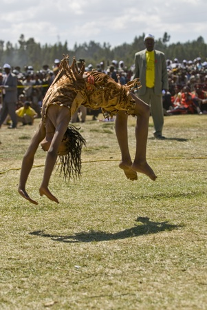 Gymnast Performing a Sumasult at the 20th World Aids Day Event in Fitche, Ethiopia Editoriali