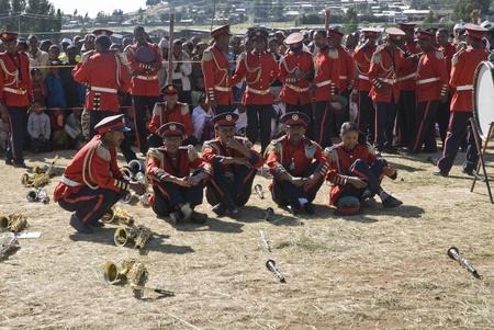 I membri della band Marching Cerimoniale Relax prima del 20 di inizio Evento Giornata mondiale Aids in Fitche, Etiopia