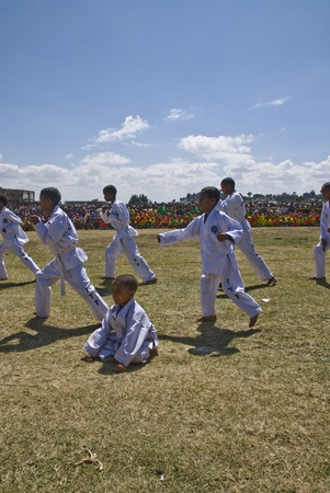 Tae Kwon Do display at the 20th World Aids Day event in Fitche, Ethiopia