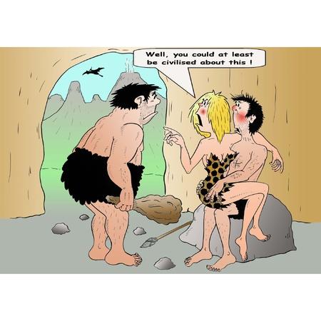 celos: Hombres de las cavernas civilizadas Vectores