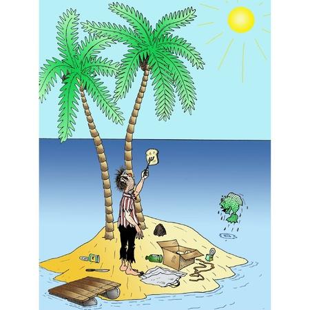 ship wreck: Desert Island meal Illustration