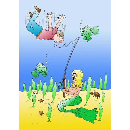 fisher man: Marmaid s catch Illustration