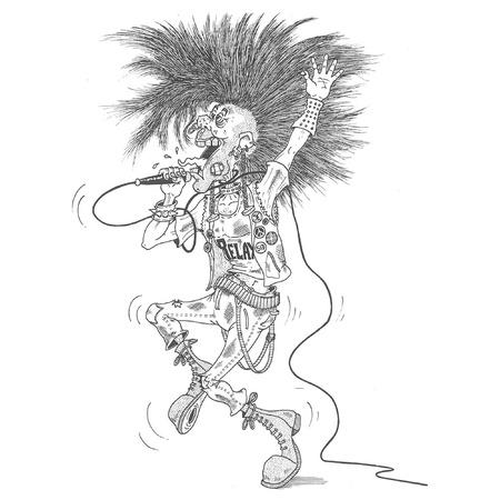 punk hair: Punk singer Illustration