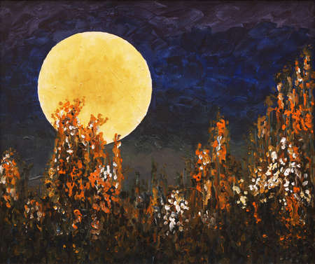 a painting with stylized moon and flowers photo