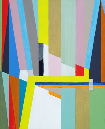 A geometric abstract painting with bright hard-edged color and strong design