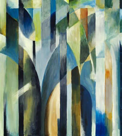 An abstract painting on a theme of arches and columns.