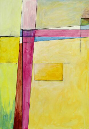 An abstract painting; geometric and using the complementary colours yellow and purple