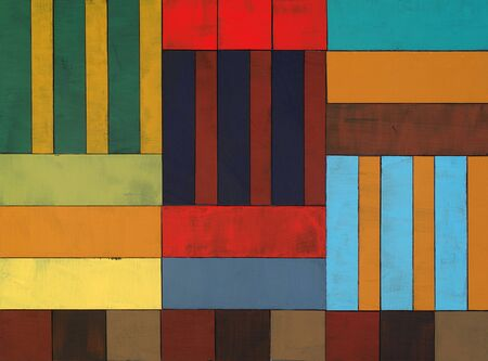 painted rectangles and squares of board assembled into a colourful collage.