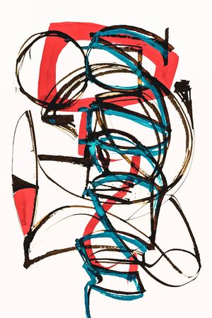 A cola pen calligraphic abstract painting; with red and turquoise watercolor wash. Standard-Bild