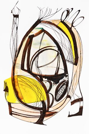 A cola pen calligraphic abstract painting; with yellow and brown watercolor wash.