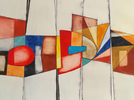 An abstract watercolor painting with irregular blocks of color fractured by vertical lines