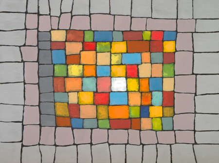 an abstract painting; a brightly colored irregular grid, framed by neutralised colored blocks. Foto de archivo