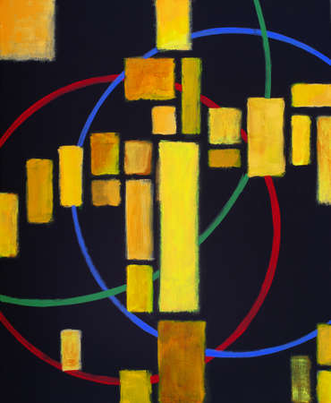 a modernist abstract painting featuring warm colour on a black background with red, green and blue circles 免版税图像