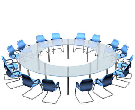 ray trace: Los asientos vac�os redondean una tabla de conferencia de la sala de reuni�n