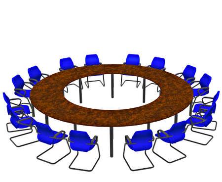 ray trace: Asientos vac�os alrededor de una mesa de sala de conferencia