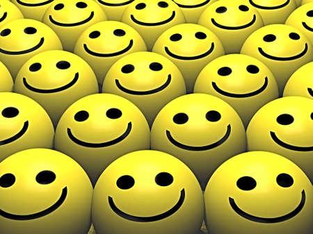 convivialit�: Un groupe pf smileys avec des sourires heureux  Banque d'images