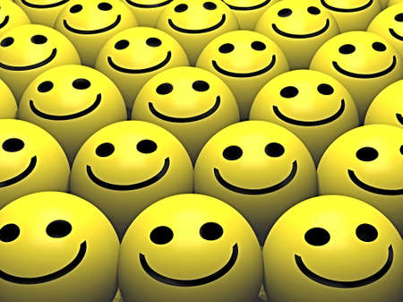 cordialit�: Un gruppo pf smiley con sorrisi felici