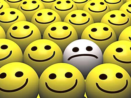 las emociones: Una carita triste sobresale de la multitud de caritas felices