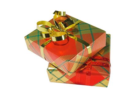 Two presents wrapped in shiny bright paper Stock Photo