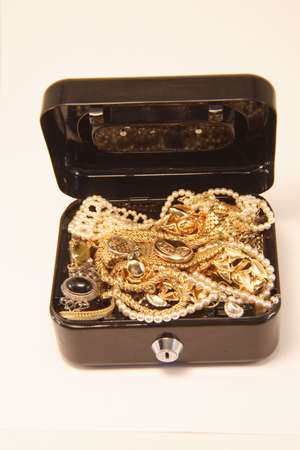 strongbox: A box full of jewelry Stock Photo