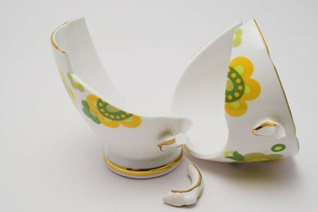 Pieces of a broken fine china cup Stock Photo - 227948