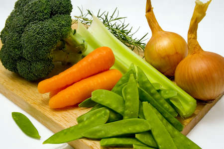 Vegetables on a chopping board ready to prepare