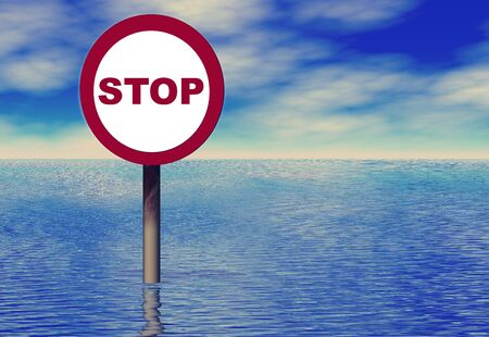 A stop sign in the ocean. You can easily insert your own words.