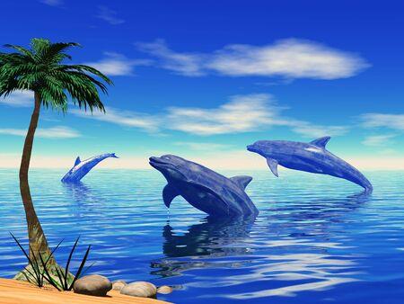Un groupe de dauphins joue dans la mer